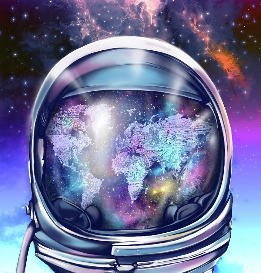 Astronaut world map 9 painting by bekim art space painting astronaut world map 9 by bekim art gumiabroncs Gallery