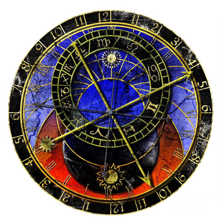 Grunge Digital Art - Astronomical Clock In Grunge Style by Michal Boubin