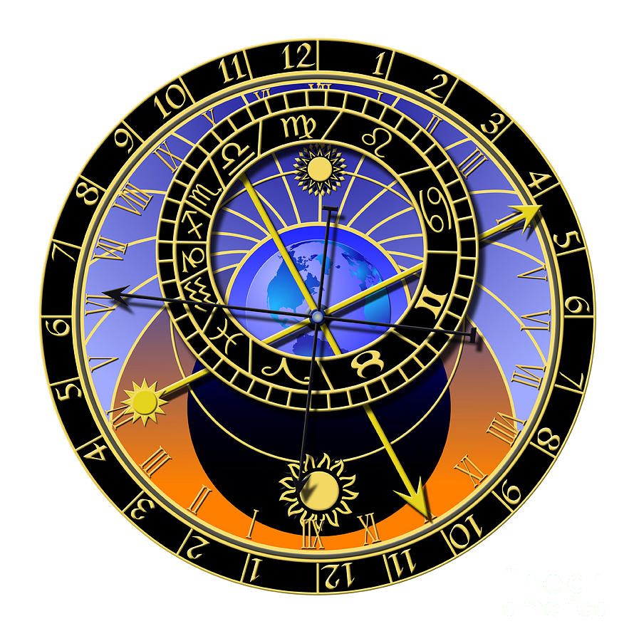 Abstruse Digital Art - Astronomical Clock by Michal Boubin