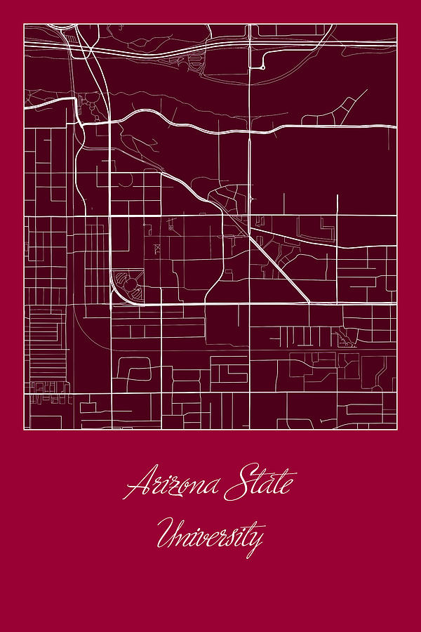 Map Of Arizona State University.Asu Street Map Arizona State University Tempe Map Digital Art By