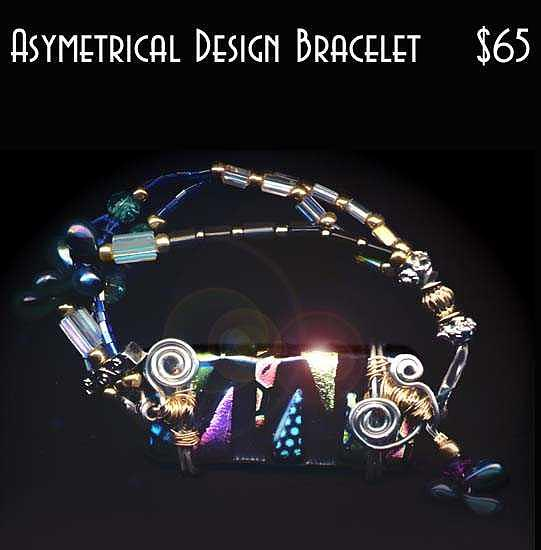 Asymetrical Designed Fused Glass Bracelet Mixed Media by Michelle Lake