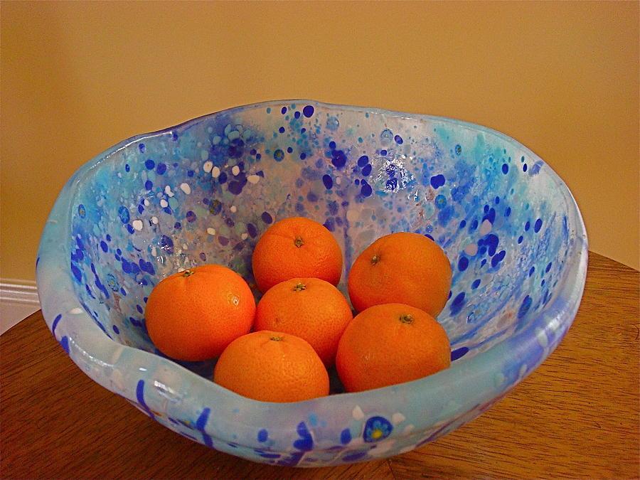 Millefiori Glass Art - Asymmetrical Bowl In Blue 2 by Cydney Morel-Corton