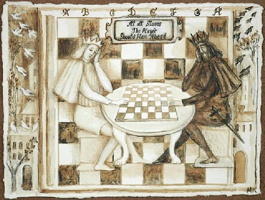 Chess Game Drawing - At All Stages The Player Should Plan Ahead by Marina Kalinovsky