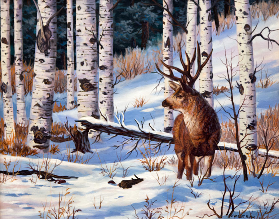 Mule Deer Painting - At Atttention by W  Scott Fenton