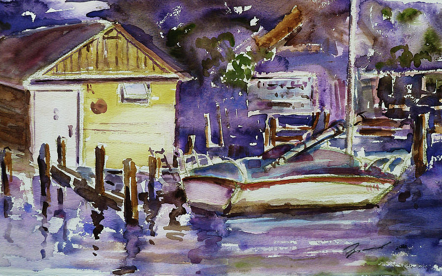 Purple Painting - At Boat House 3 by Xueling Zou