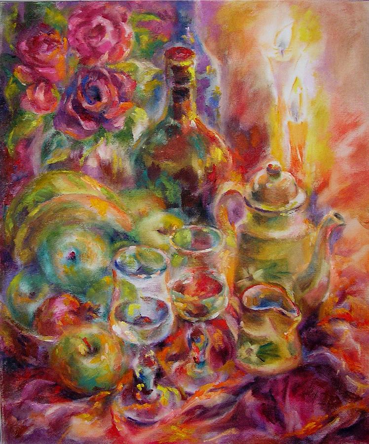 Still Life Painting - At Candles by Tatyana Berestov