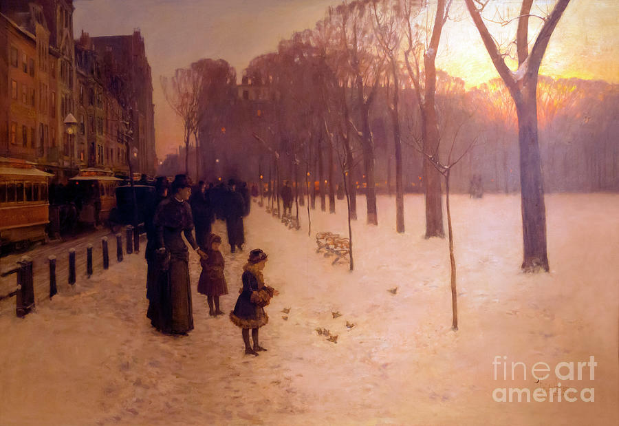 America Photograph - At Dusk, Boston Common At Twilight by Peter Barritt