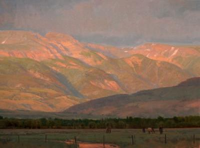 Mountains Painting - At Evenings End by Michael Albrechtsen