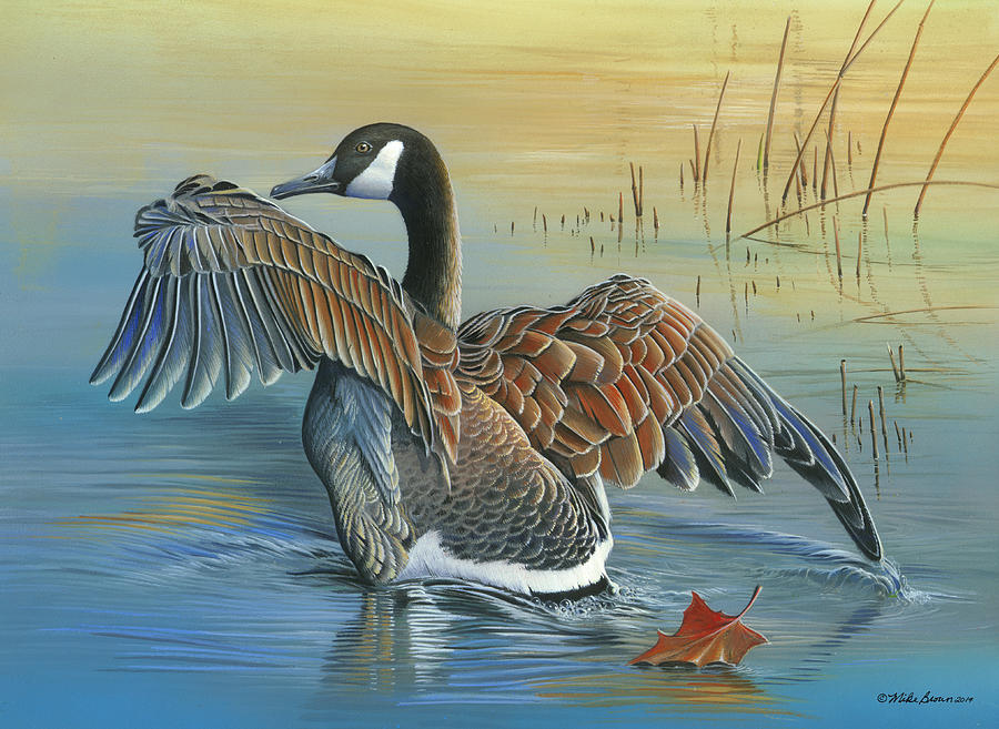 Waterfowl Painting - At First Light by Mike Brown