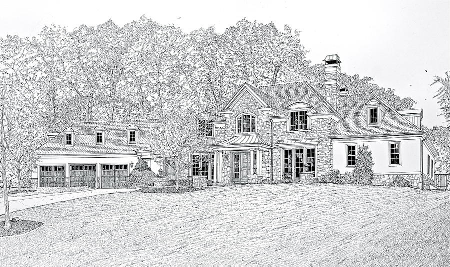 House Portraits Drawing - At Home In Devon by Ira Shander