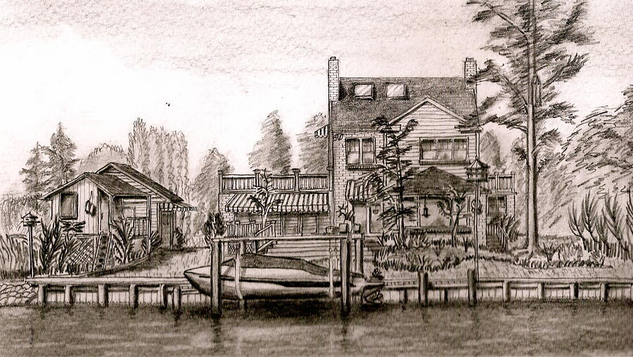 House Drawing - At Home On The River by Vic Delnore