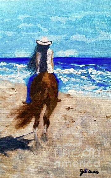 Horse Painting - At Peace With The World by Julie Sauer