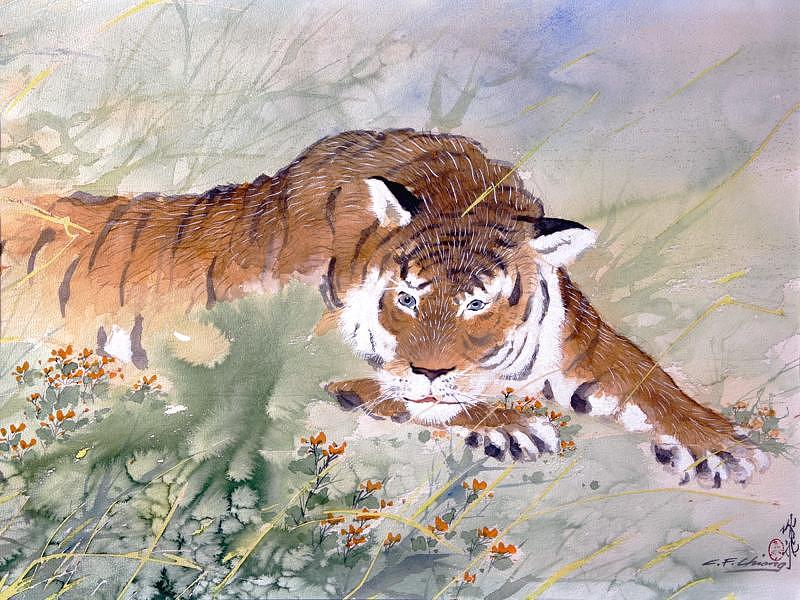 Tiger Painting - At Rest by Chienfei Chiang