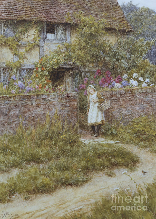 English; Landscape; Rural; Cottage; Gate; Gateway; Girl; Child; Path; C19th; C20th; Victorian Painting - At Sandhills by Helen Allingham