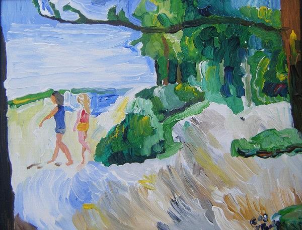 Beach Painting - At The Beach by John Bisbee