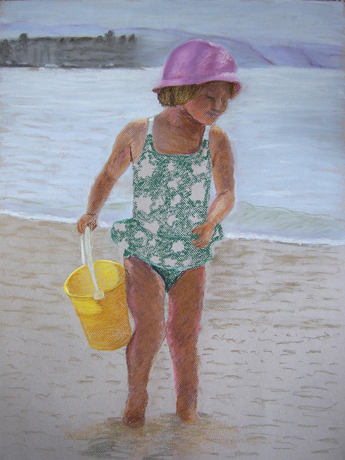 Portrait Pastel - At The Beach by Marina Garrison