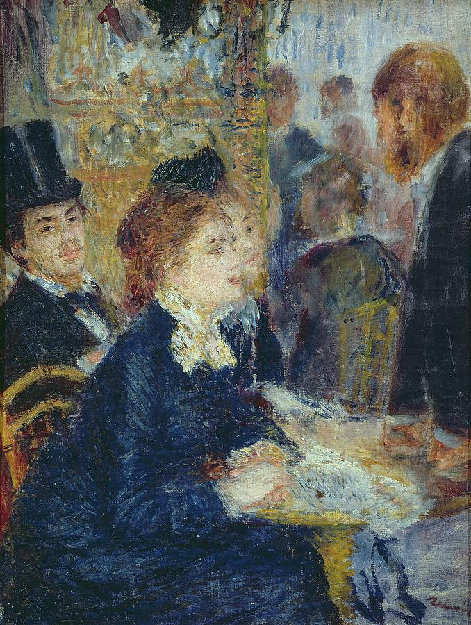 The Painting - At The Cafe by Pierre Auguste Renoir