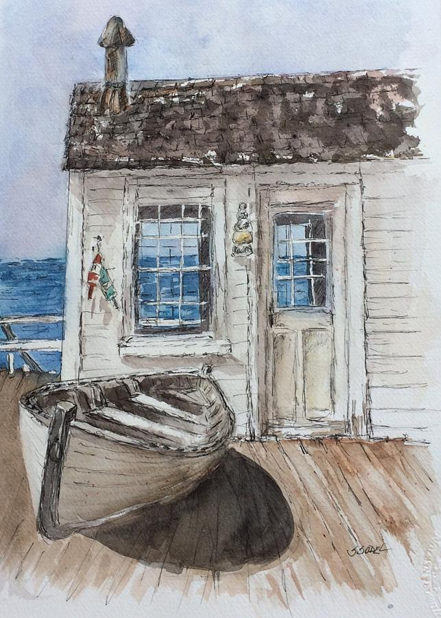 Seascape Painting - At The Dock by Stephanie Sodel