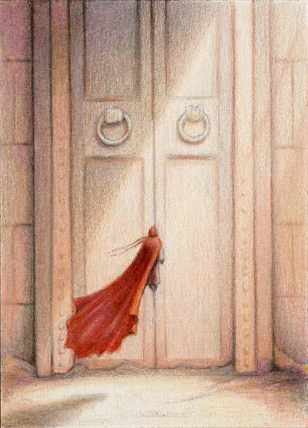 Magic Drawing - At The Door by Amy S Turner