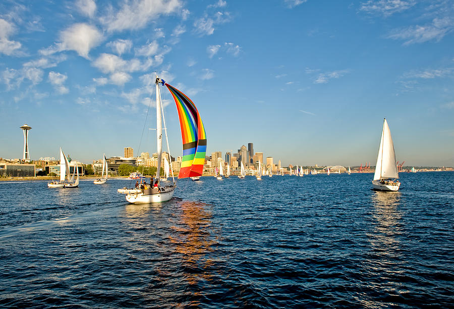 Seattle Photograph - At The End Of The Rainbow by Tom Dowd