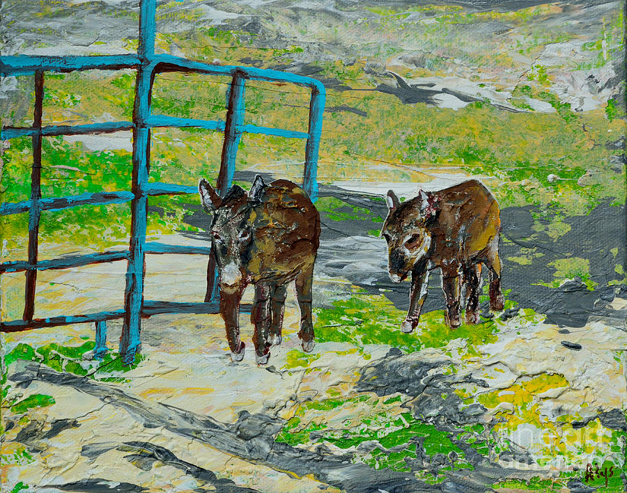 America Painting - At The Farm by Alys Caviness-Gober