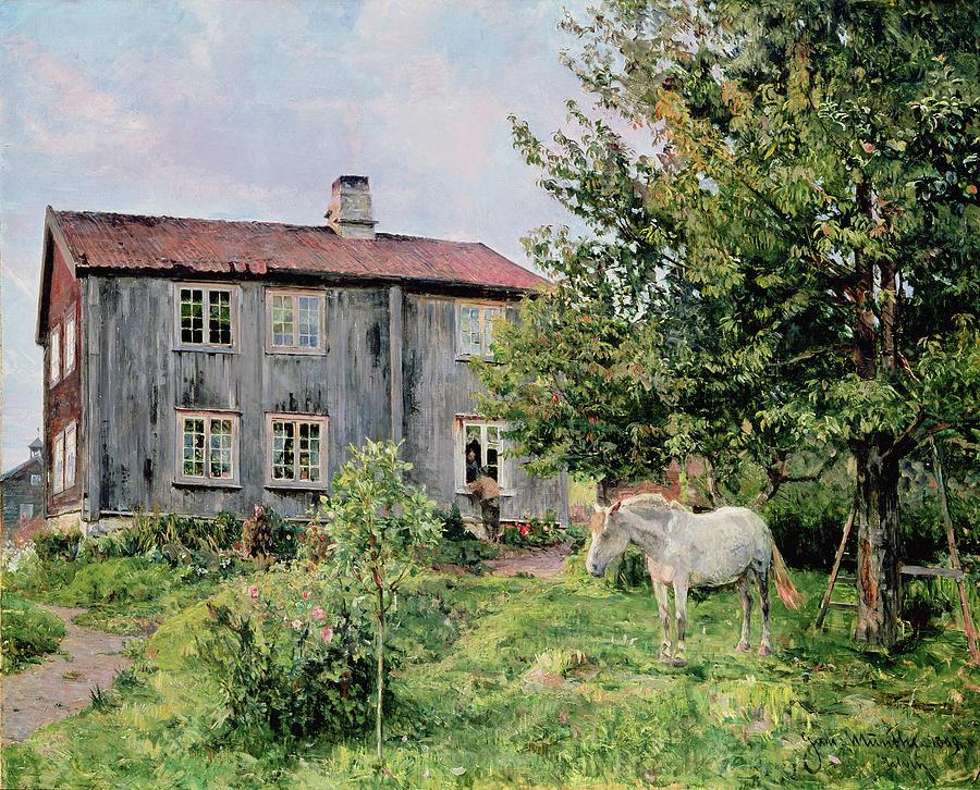 Farm Painting - At The Farm by Gerhard Peter Frantz Vilhelm Munthe