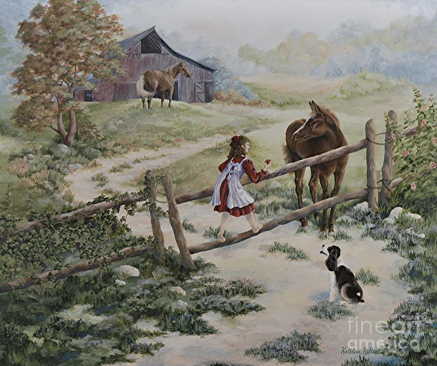 Farm Painting - At The Farm by Kathleen Keller