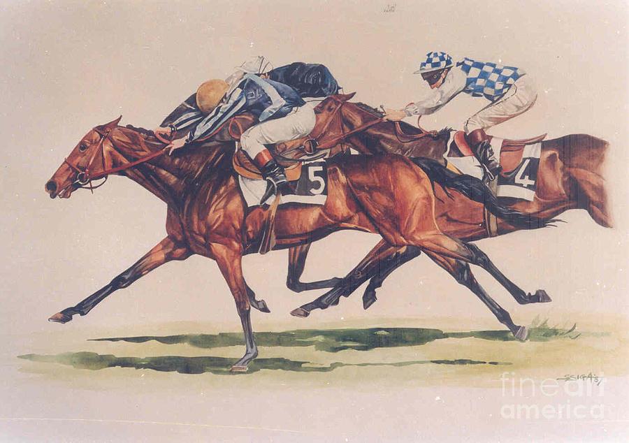 Horse Painting - at The Finish Of The Arc by Sabrina Siga