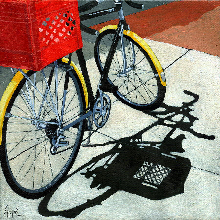 Bicycle Painting - At The Grocery by Linda Apple