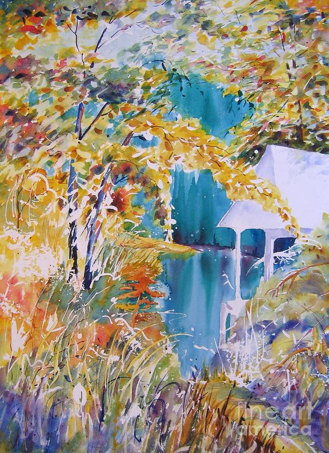 Watercolours Painting - At The Lake by John Nussbaum