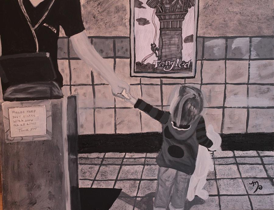 Black And White Painting - At The Movies by Miki Proud