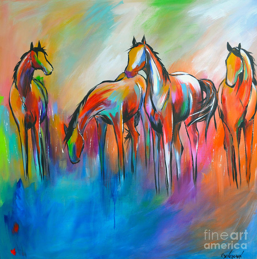 Horse Painting - At The Pond by Cher Devereaux