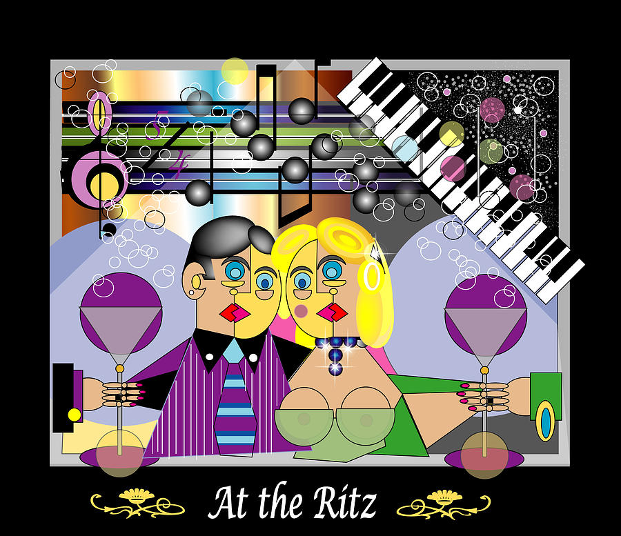 Bright Digital Art - At The Ritz Bar by George Pasini