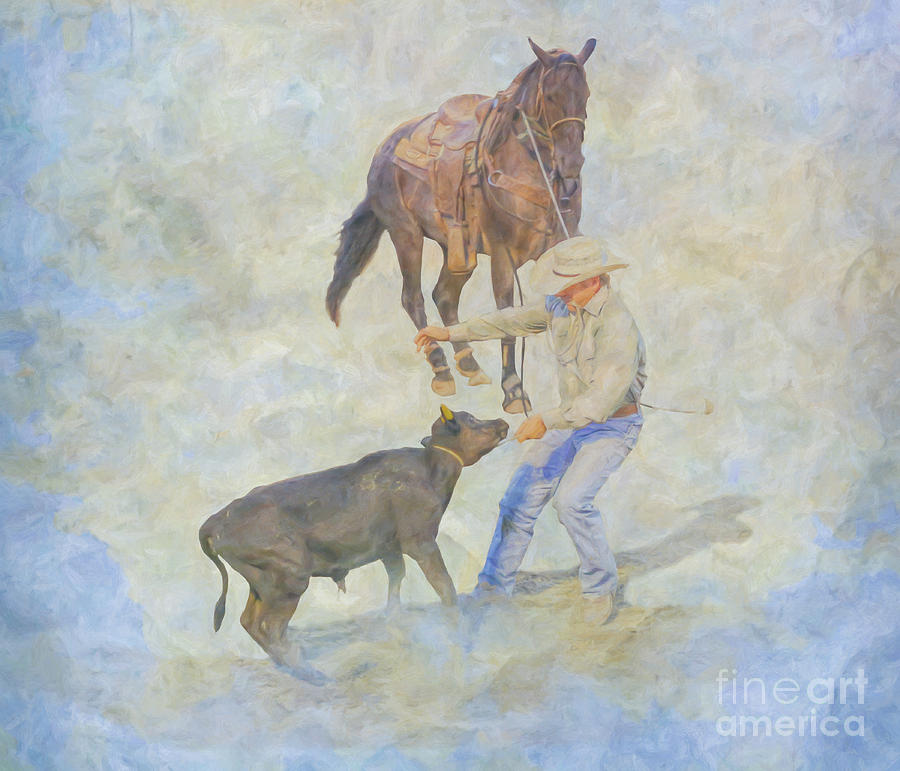 Bull Riding Digital Art - At The Rodeo Calf Roping by Randy Steele