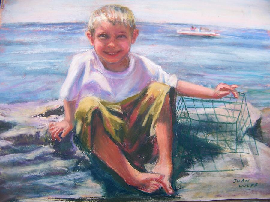 Children Pastel - At The Shore by Joan Wulff