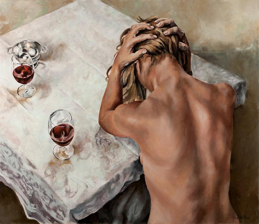Wine Painting - At The Table by Jolante Hesse