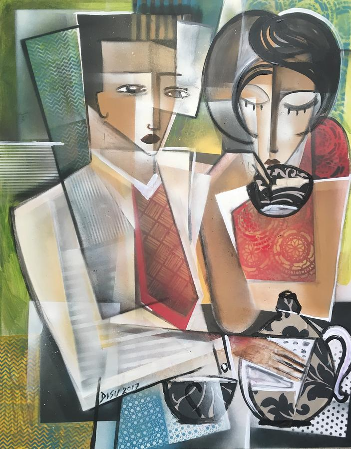 Cubism Mixed Media - At The Tea Break by Dada Adesoji DISU