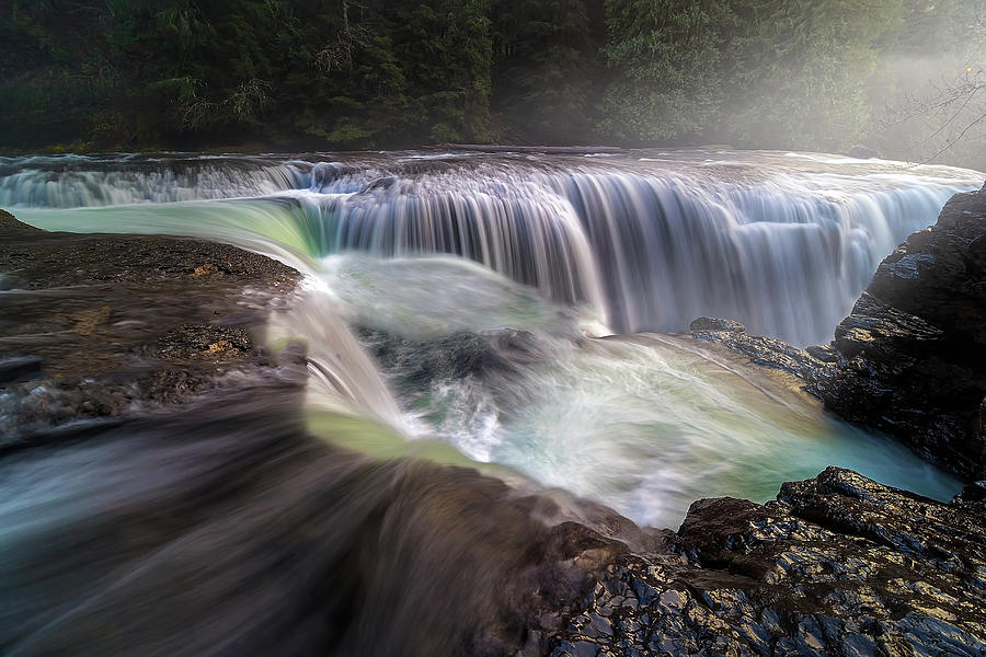 Waterfall Photograph - At The Top Of Lower Lewis River Falls by David Gn
