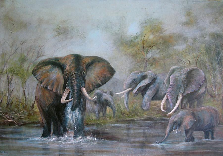 Wildlife Painting - At The Waterhole by Rita Palm