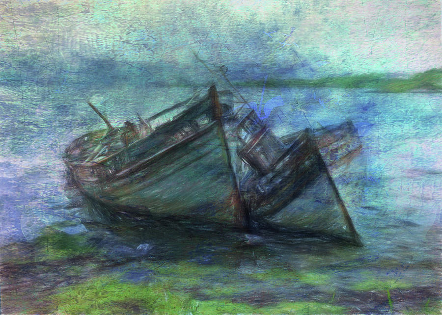 Boats Digital Art - At the Waters Edge by Sarah Vernon