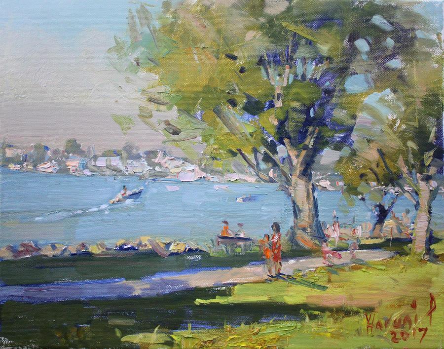 River Painting - At Tonawanda Park By The River by Ylli Haruni