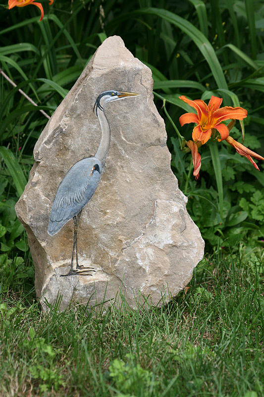Limestone Sculpture - At Waters Edge by Ken Hall