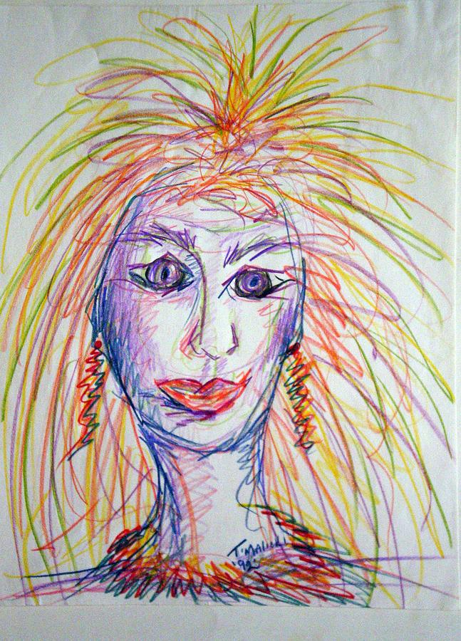 Self Portrait Drawing - At Wits End by Tammera Malicki-Wong