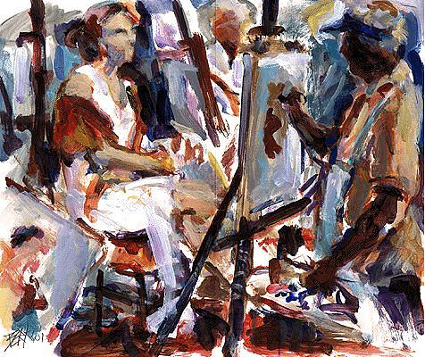 Acrylic Painting - At Work by Chuck Berk