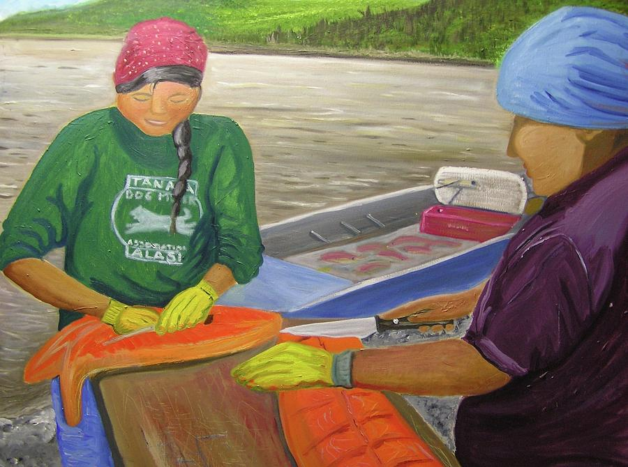 Athabaskan Painting - Athabaskan Women Cutting Salmon by Amy Reisland-Speer