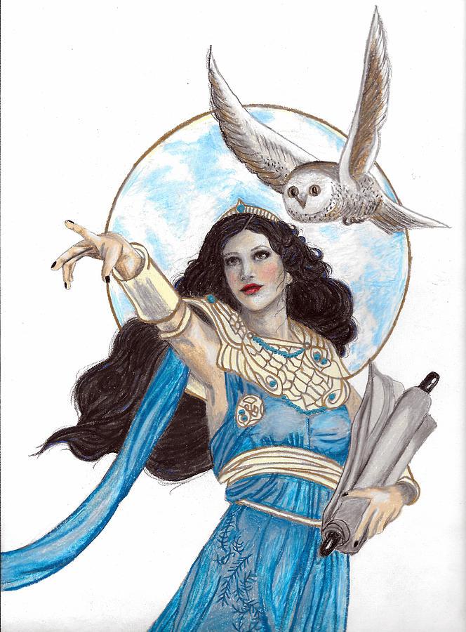 Athena Goddess Of Wisdom Drawing by Kristen Alberti