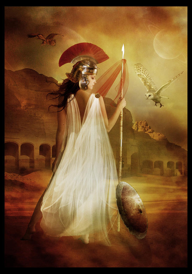 Woman Red Digital Art - Athena by Mary Hood