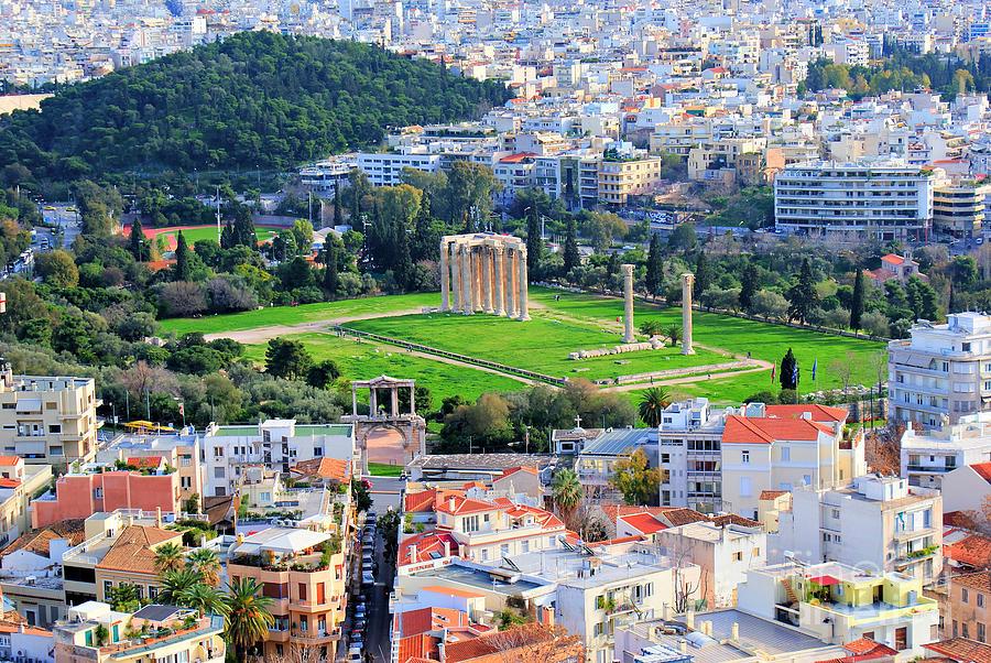 Acropolis Photograph - Athens - Temple Of Olympian Zeus by Hristo Hristov