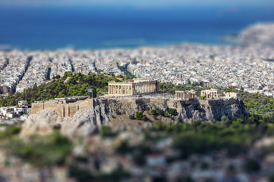 Athens Photograph - Athens, Greece. Athens Acropolis And City Aerial View From Lycavittos Hill by George Tsartsianidis