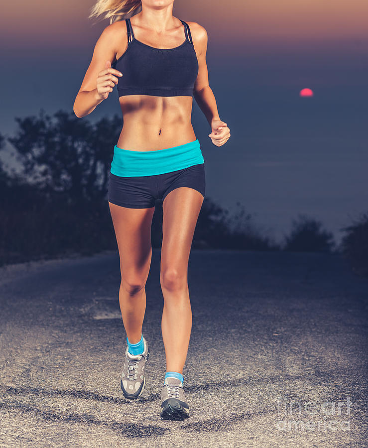 Activities Photograph - Athletic Woman Jogging Outdoors by Anna Om